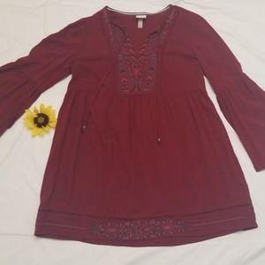 KNOX ROSE...Burgundy tunic dress with flare sleeve